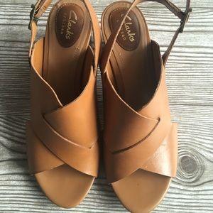 Clarks Artisan camel sandal with ankle strap